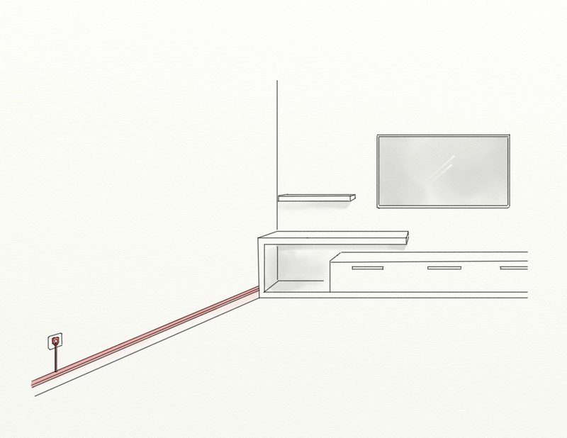 cacher cables baguette home cinema